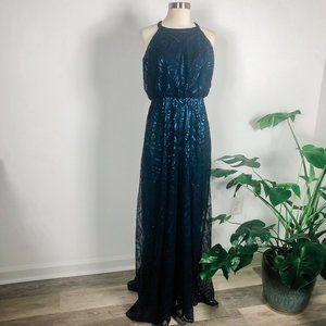 Angelina Faccenda high neck sequined dress, navy